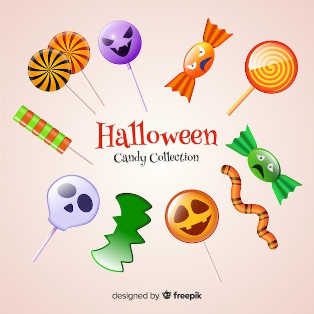 Realistische halloween-süßigkeitssammlung auf hellgelbem hintergrund Kostenlosen Vektoren