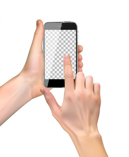 Realistische hand, die handy lokalisiert auf weiß hält Premium Vektoren
