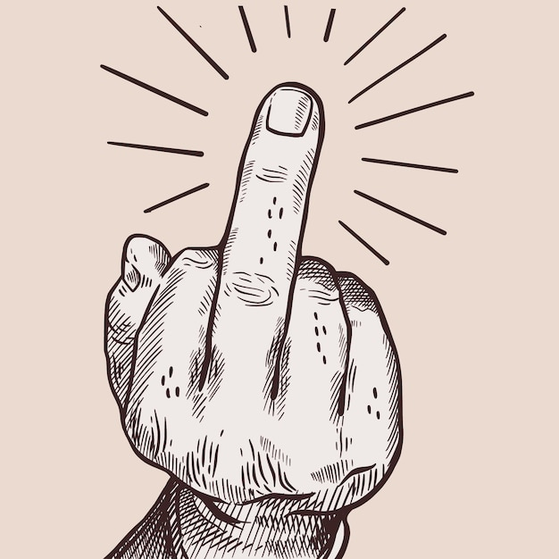Realistische hand gezeichnet ficken sie symbol Kostenlosen Vektoren