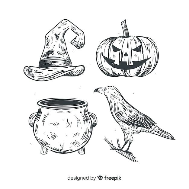 Realistische hand gezeichnete halloween-elementsammlung Kostenlosen Vektoren