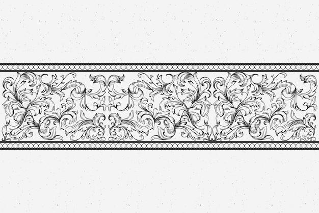 Realistische hand gezeichnete zierleiste im barockstil Kostenlosen Vektoren