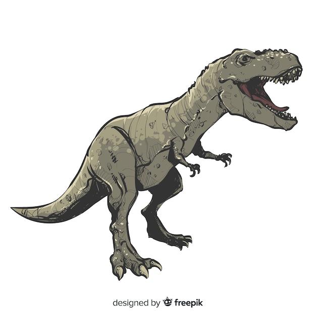 Realistische hand gezeichneter t-rex-hintergrund Kostenlosen Vektoren