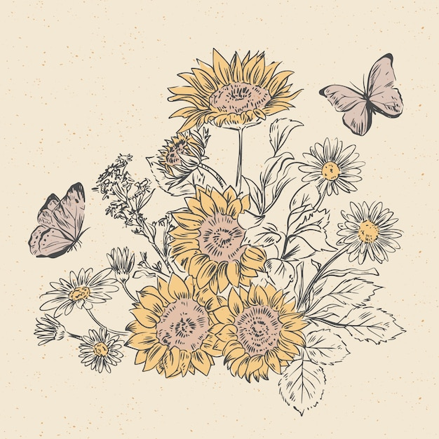 Realistische hand gezeichneter weinleseblumenstrauß Kostenlosen Vektoren