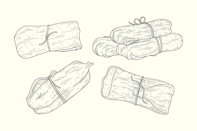Realistische handgezeichnete tamales Premium Vektoren