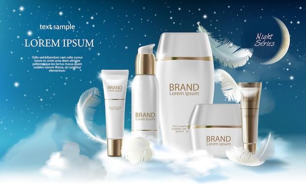 Realistische hautpflege große nacht-serie. glas, spray, rohr, behälter mit kosmetischer creme Premium Vektoren