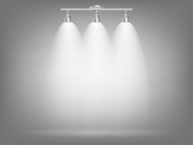 Realistische helle projektoren, die lampe mit scheinwerfern beleuchten lichteffekte mit transparenz. Premium Vektoren