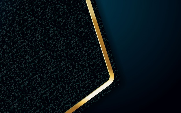 Realistische hintergrundfarbe mit goldenem und blauem lichtdesign Premium Vektoren