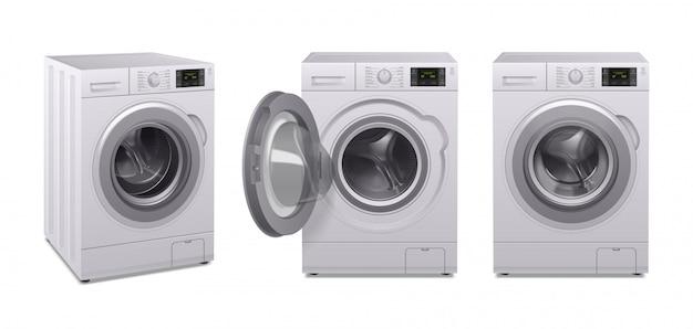 Realistische ikone der waschmaschine stellte drei produkt von haushaltsgeräten in unterschiedlicher position ein Kostenlosen Vektoren