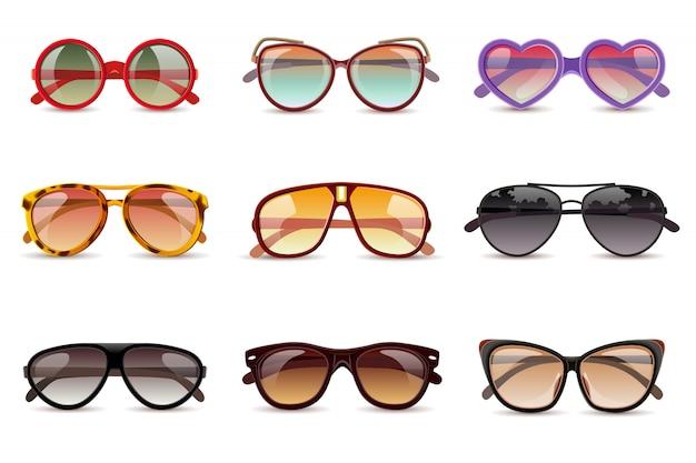Realistische ikonen der sommersonnenschutzsonnenbrille eingestellt Kostenlosen Vektoren
