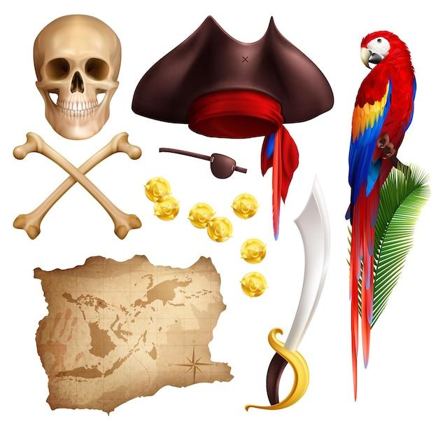 Realistische ikonen des piraten stellten vom gealterten kartengoldmünzepfeifensäbel-papageienschädel und -piratenhut lokalisiert ein Kostenlosen Vektoren