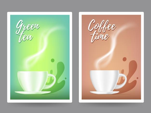 Realistische illustration der kaffeetasse der weißen farbe mit dampf. 3d-design Premium Vektoren