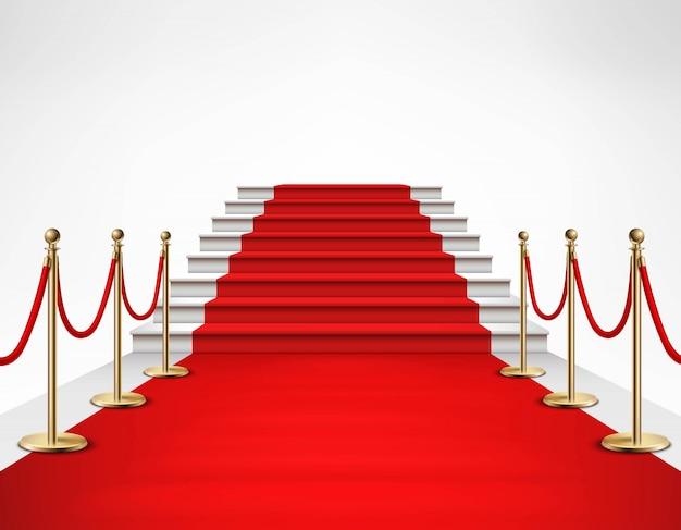 Realistische illustration der roten teppich-weißen treppe Kostenlosen Vektoren
