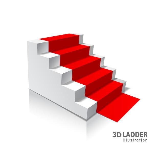 Realistische illustration der weißen treppe der gestaltungselemente Premium Vektoren