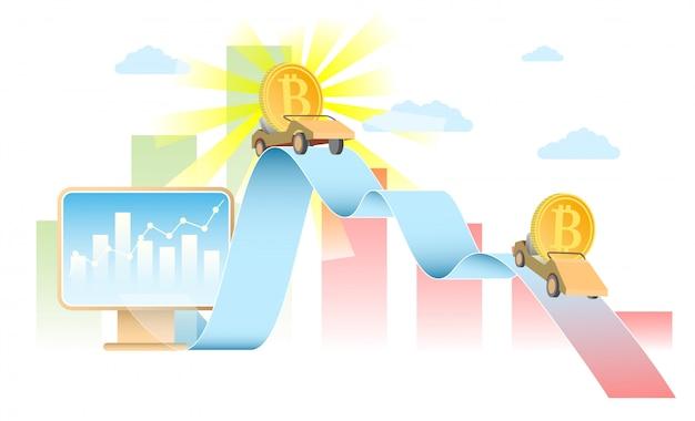 Realistische illustration des bitcoin-ratenkonzept-vektors Premium Vektoren