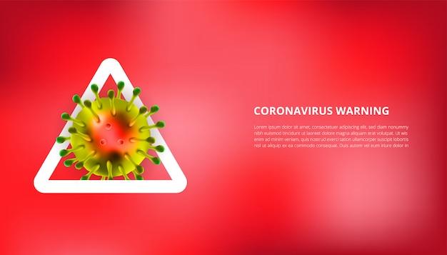 Realistische illustration des coronavirus mit warnzeichen Premium Vektoren