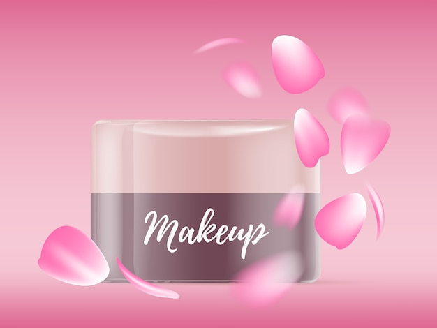 Realistische illustration des schönen leuchtenden gesichtscremeglas mit rosa rosenblättern und text Premium Vektoren