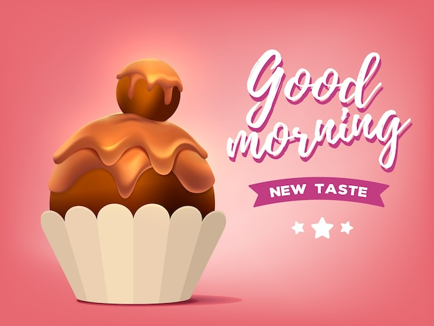 Realistische illustration des süßen braunen cupcakes Premium Vektoren