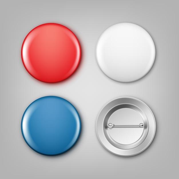 Realistische illustration von leeren weißen, blauen und roten abzeichen Kostenlosen Vektoren