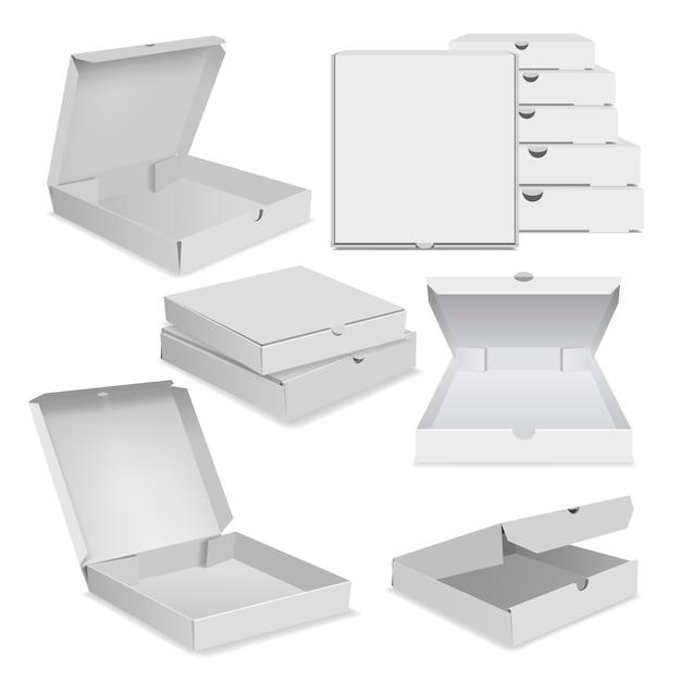 Realistische illustration von pizzaverpackungsikonen für netz Premium Vektoren