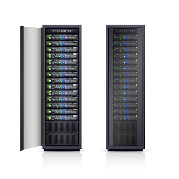 Realistische illustration von zwei schwarzen servergestellen Kostenlosen Vektoren
