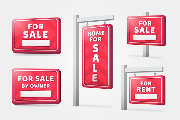 Realistische immobilien hängende zeichen Kostenlosen Vektoren