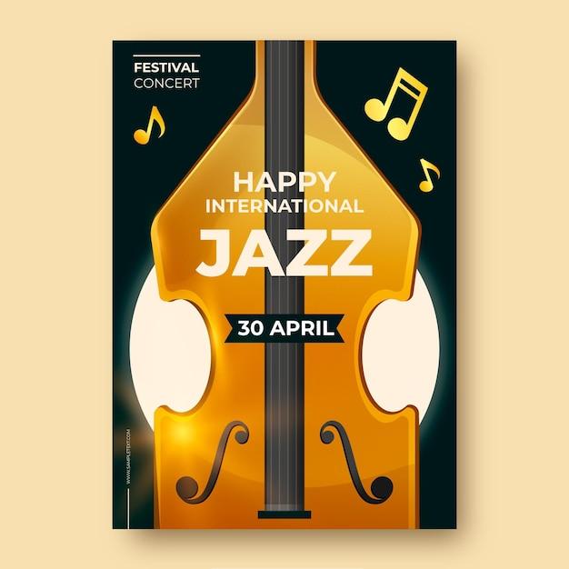 Realistische internationale jazz-tagesplakatschablone Kostenlosen Vektoren