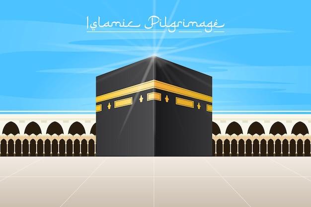 Realistische islamische pilgerfahrt und blauer himmel Kostenlosen Vektoren