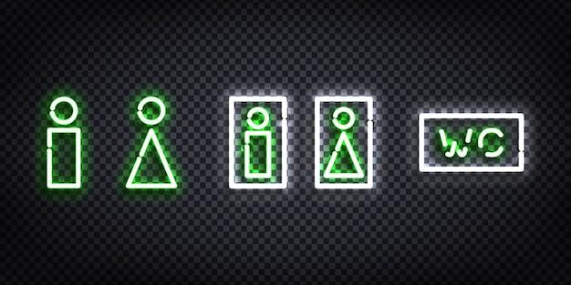 Realistische isolierte leuchtreklame der wc-vorlage Premium Vektoren