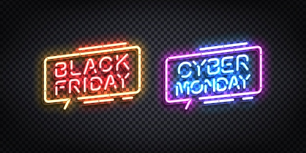 Realistische isolierte leuchtreklame des black friday- und cyber monday-logos. Premium Vektoren