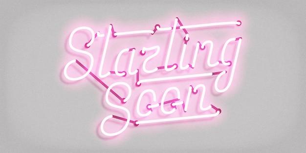 Realistische isolierte leuchtreklame des starting soon-logos für schablonendekoration und -abdeckung. Premium Vektoren