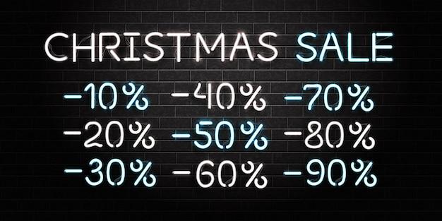 Realistische isolierte leuchtreklame des weihnachtsverkaufslogos auf dem wandhintergrund. konzept des guten rutsch ins neue jahr. Premium Vektoren