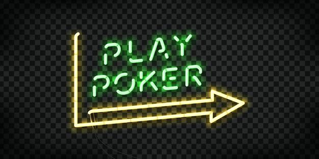 Realistische isolierte leuchtreklame von play poker Premium Vektoren