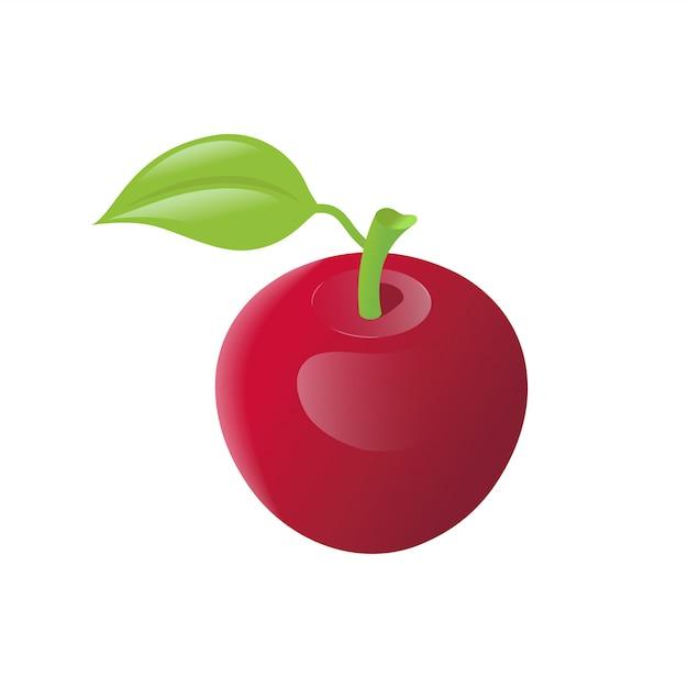 Realistische isometrische ikone des roten apfels Premium Vektoren