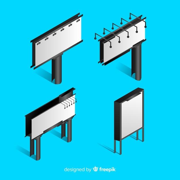 Realistische isometrische plakatwandsammlung Kostenlosen Vektoren