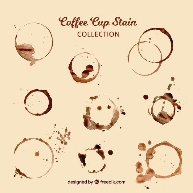 Realistische kaffeetasse fleckensammlung Kostenlosen Vektoren