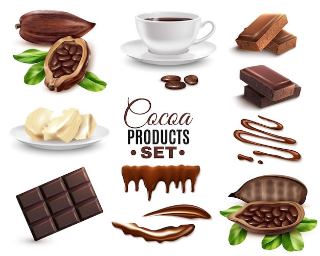 Realistische kakaoprodukte eingestellt Kostenlosen Vektoren
