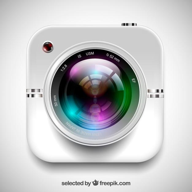Realistische kameraobjektiv Kostenlosen Vektoren