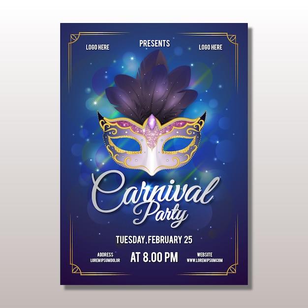 Realistische karnevalplakatschablone Kostenlosen Vektoren