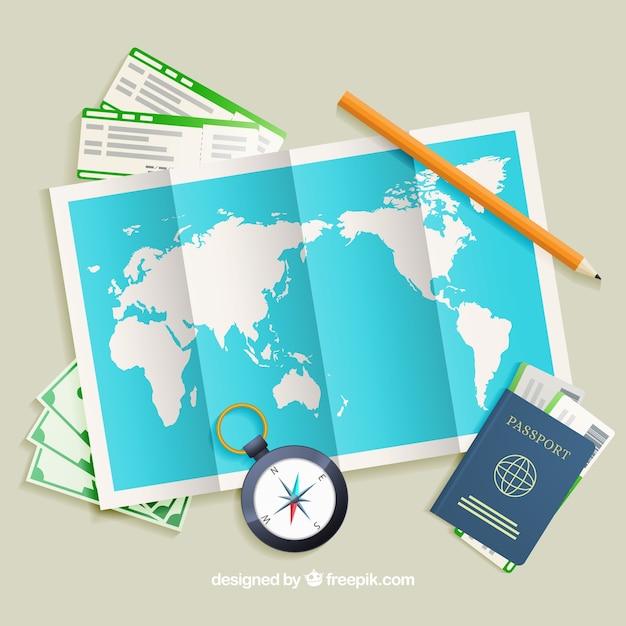 Realistische karte mit reiseelementen Kostenlosen Vektoren