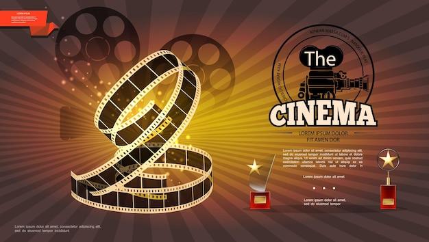 Realistische kinematographie hell mit filmrollen kamera filmstreifen und kino awards illustration Kostenlosen Vektoren