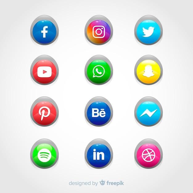 Realistische knöpfe mit social media-logosammlung Kostenlosen Vektoren