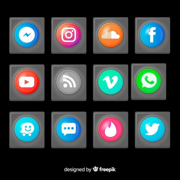 Realistische knöpfe mit social media-logosatz Kostenlosen Vektoren