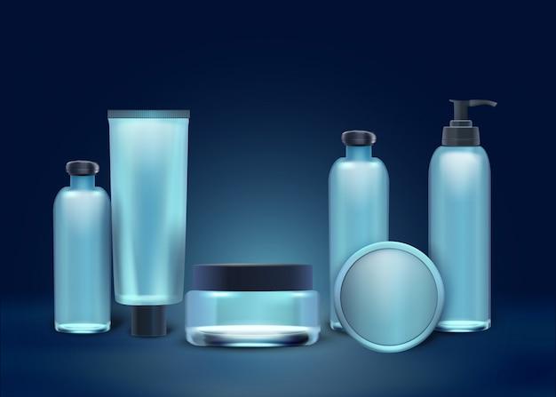 Realistische kollektion naturkosmetik in flaschen. Premium Vektoren