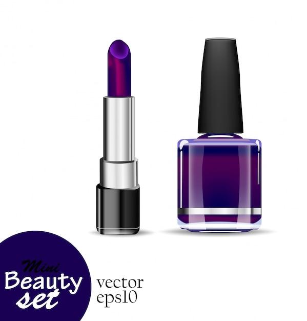 Realistische kosmetikprodukte. ein tubenlippenstift und ein flaschennagellack haben eine gesättigte dunkelviolette farbe auf weißem hintergrund. illustrationen mini beauty set. Premium Vektoren
