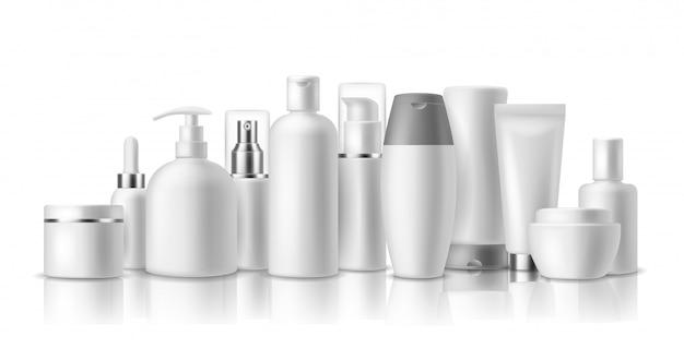 Realistische kosmetische modelle. hautpflegekosmetikflaschen, behälter und glas. spa-schönheitsprodukt. spray, lotion und creme packung Premium Vektoren