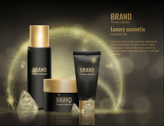 Realistische kosmetische schablonenproduktpaketgoldwerbungsillustration der creme 3d. Premium Vektoren