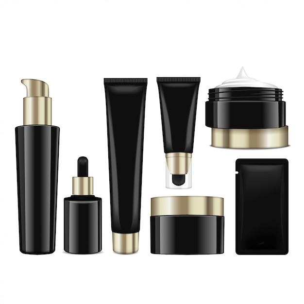 Realistische kosmetische schwarze flaschen mit goldenen verschlüssen. behälter, tuben, schärpe für sahne, balsam, lotion, gel, grundierungscreme. illustration Premium Vektoren