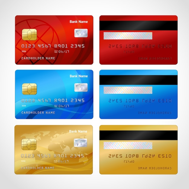 Realistische kreditkarten-set Premium Vektoren
