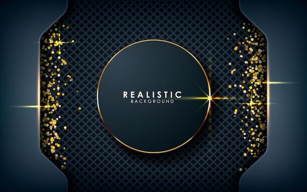 Realistische kreisdimension mit goldenem glitzern Premium Vektoren