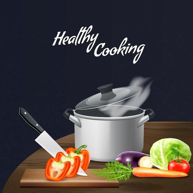 Realistische küchenwerkzeuge und -gemüse für gesunde nahrung am holztisch auf schwarzer illustration Kostenlosen Vektoren